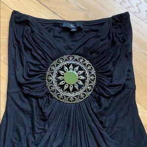 Sky Tops - Sky medallion black tube top with brass accent.